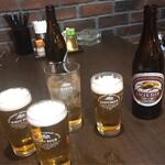 中華料理 華景園 - 飲み放題には生ビールはありません。 瓶ビールと杏酒のソーダ割りで乾杯
