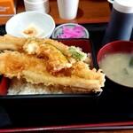 食事処 やまよ - あな天重定食1400円(2020/01)