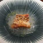 ete - 甘鯛の皮パリパり焼き、ホワイトアスパラのソース