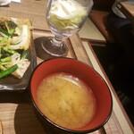 会津馬刺 おいだれ焼鳥 イオン新浦安 彦酉 - サラダ・味噌汁