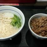 なか卯 - ランチセット(はいからうどん(並)+和風牛丼ミニ)(500円)