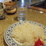 クレピス - ランチメニューに付くライス。平皿に盛るスタイル。