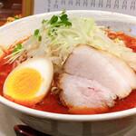 123050215 - 激辛味噌ラーメン 3辛(細麺・豚骨をチョイス)                         ひたすら赤い