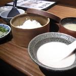 楽阿弥 - 伊予さつま飯(600円) さっぱりとさつま汁を掛けて食べます。旨し!
