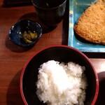 しま田 - アジフライ定食の左側