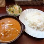 ナマステ食堂 - 料理写真:「ランチセット(A.チキン 3辛 ライス)」(750円)(サラダ、ドリンク付)