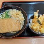 宝製麺所 - きつねうどんと海老天丼(並)