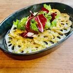 岩国レンコンのカルパッチョ 椎茸の旨味塩