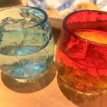 123203763 - 泡盛をロックで...、ナニかとナニか...、めおとな琉球グラスでイチャイチャと....