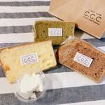 シフォンケーキのお店 C.C.C. - 左からチーズケーキ, 抹茶, マロン