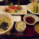 食事処 川 - 「天ざる蕎麦とにぎりのセット」の蕎麦を温うどんに変更~☆