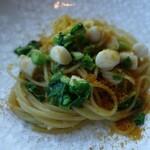 123221934 - 小柱と菜の花のペペロンチーノスパゲッティーニ