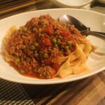 123261337 - 挽き肉とトマトソースのフェットチーネ