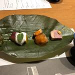 123286814 - 前菜:さつま芋お南瓜のヨーグルトソース、あんこうの唐揚げ、合鴨ロース