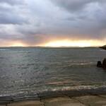 123294309 - 稚内の朝焼け 宗谷湾沖の宗谷岬を臨む