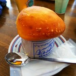 横手山頂ヒュッテ 雲の上のレストラン - きのこスープ(器も熱いです)