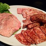 焼肉レストラン権左工門 - 料理写真:ぜいたくセット3,994円は上タン、上カルビ、ザブトン、カイノミ