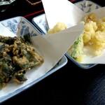 旬処 いさ路 - わかめの唐揚げと白子の天ぷら。