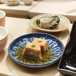 日本橋蛎殻町 すぎた - 鮟肝と牡蠣味噌漬け,新政で頂く