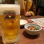 もつ焼き 稲垣 - 生ビール 中 600円