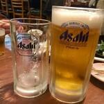 もつ焼き 稲垣 - 生ビール 中 600円、右が生ビール 大 800円
