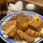 お多幸 - 大根、玉子、鶏つくね、焼ちくわ、厚揚げ、牛すじ、さつま揚げ、だんご串、ウィンナー巻き