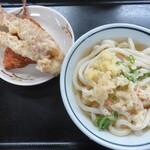 うつ海うどん - 料理写真:かけうどん・ゲソてん・アジフライ
