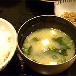 麹屋 - おくど(竈炊き)ご飯と味噌汁@和ごはん麹屋