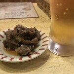 海老 蟹 魚卵 ときどき鶏 洋風酒場ノンバル - お通しの牛すじポン酢とハッピーアワーの生ビール