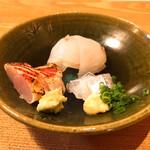蕎麦ひら井 - お造り サヨリ キンメ ヒラメ
