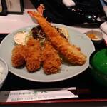 tonkatsutowashokunomisechouhachi - 牡蠣フライ×3、エビフライ×1本