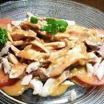 12358443 - バンバンジー(多分630円)・・・・前菜としては、ゴマソースのお味が濃いですね。