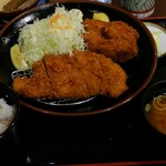 とん八 - 料理写真:牡蠣ふらい&とんかつ膳