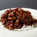 42.牛肉の細切り甘味噌炒め