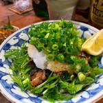 蕗の薹 - 鶏のせせりの塩麹漬け焼き