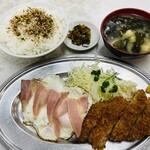 はちのこ食堂 - メンチカツ&ハムエッグ定食