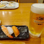 Hoterusambareizunagaoka - 生ビールと寿司