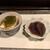 縁伝 - 料理写真:豆腐にメカブが乗った物とホタルイカの沖漬け