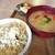 テマヒマ - 料理写真:お味噌汁に玄米ご飯 自家製ぬか漬け