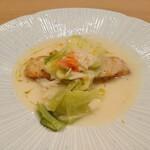 Restaurant つじ川 - 魚料理 真鱈のソテー、柚子胡椒ソース