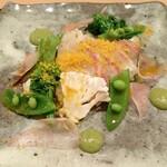 Restaurant つじ川 - 前菜 真鯛の炙りと春野菜のサラダ仕立て