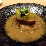 Restaurant つじ川 - 肉料理 和牛ほお肉の煮込み、フキノトウのソース