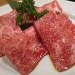 焼肉永秀 - 選りすぐりの特上肉5種に「シャトーブリアン」も味わえる2時間飲み放題付『特上永秀コース』<全10品>7,500円(税込)特上肉5種から奥からザブトン、イチボ、ランプ