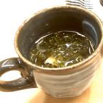 羽田市場 ギンザセブン - 生海苔と新筍のスープ