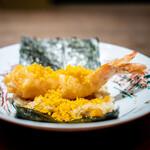 齋華 - 車海老のフリットと唐墨の手巻き寿司