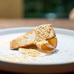 齋華 - 黄金ピータンと海老芋の唐揚げ 豆腐と胡麻と酒粕のソース
