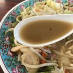 佐賀ラーメン 喰道楽 - あっさりスープ 醤油豚骨+鶏ガラ