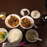 honkakushisenryourisantei - マーボ&回鍋肉(今週のランチ)のハーフ定食 1150円