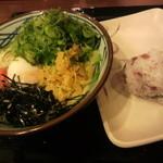 丸亀製麺 - 釜玉明太子、温泉卵で&梅しそちりめんおむすび
