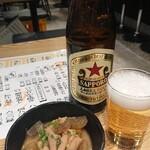 鳥取県・島根県 郷土料理かば - 中瓶ビール 550円、お通し
